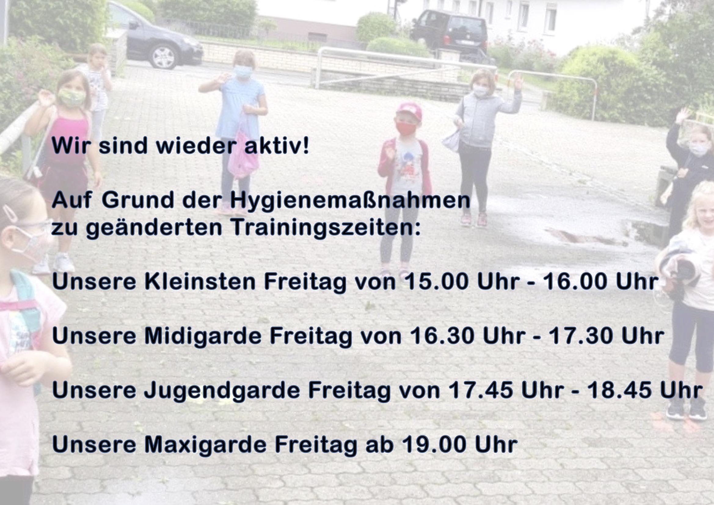 Hinweis Trainingszeiten